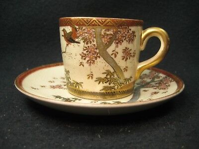 Antique Japanese Signed Satsuma Porcelain Ceramic Tea Cup And Saucer