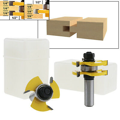 2pcs 1/2 Inch Shank Matched Tongue And Groove Assembly Joint Router Bit Set