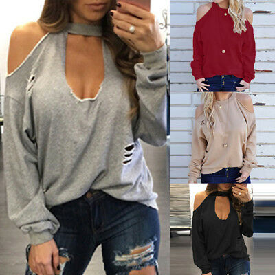 UK Womens Cold Shoulder Choker Ripped Tops Pullover Loose Shirt Ladies Blouse