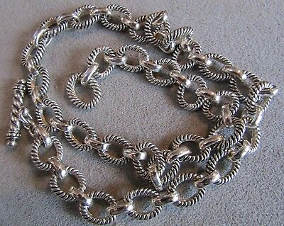 """Heavy Designer Sterling Silver Rope Rolo Chain Toggle Necklace 18.25"""""""
