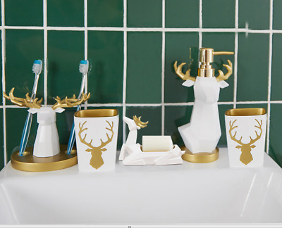 Lucky deer 5PCS Bath Accessory Set Cup Toothbrush Holder Soap Dish Tumbler,Resin