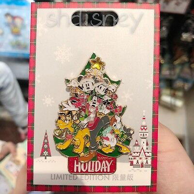 Shanghai Disneyland 2018 Christmas Tree LE800 Pin Chip Dale Donald Mickey