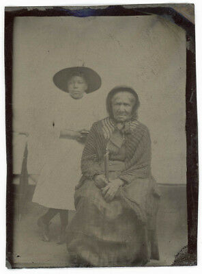 AFRICAN AMERICAN BLACK GIRL & HER GRANDMOTHER WHO WAS BORN IN 1700s TINTYPE