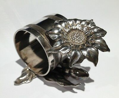 Antique Silverplate Napkin Ring with Flowers
