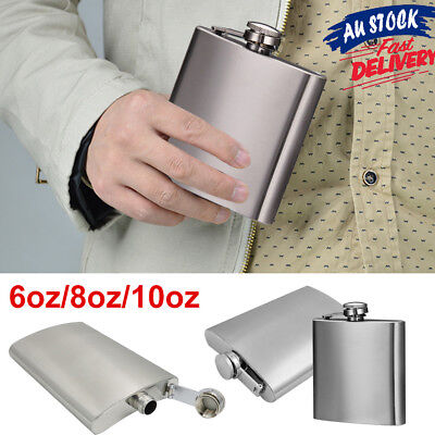 6/8/10oz Stainless Steel Whiskey Alcohol Flask Cap Pocket Hip Liquor Wine Bottle