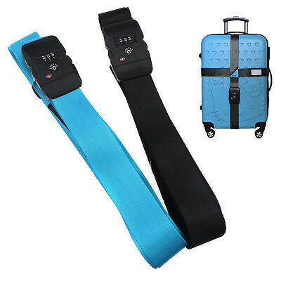 Travel Luggage Suitcase Belt Strap 3 Dial TSA Approved Letter Safety Lock