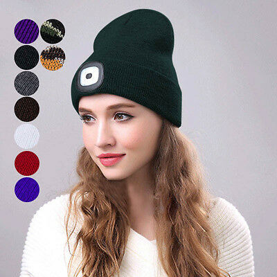 Unisex LED Beanie Hat With USB Rechargeable Battery 5 Hours High Powered Light K