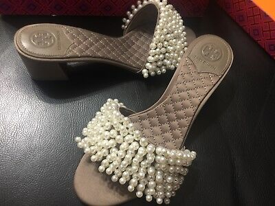 bfe9ab58675 New Tory Burch Tatiana Slides Shoes Sandal Pearls New Dust Storm 7 M Style  46044