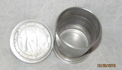 Vintage Aluminum Collapsible Drinking Cup w Sailboats on Lid