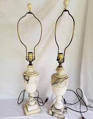 Pair of vintage antique alabaster white marble lamps Finials Grey Veins Heavy