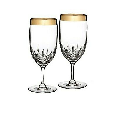 Waterford Lismore Essence Wide Gold Band Iced Beverage Glass - Set of 2