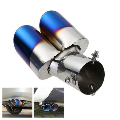 1PCS Stainless Steel Car SUV Rear Dual Exhaust Pipe Tail Muffler Tip Throat Pipe