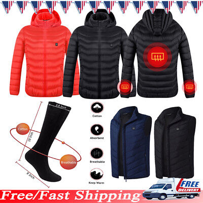 6fbc38d53 MEN HEATED COAT Jacket USB Electric Battery Heating Vest Socks ...
