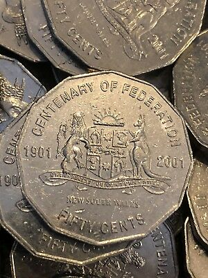 2 X 2001 Circulated 50c Coin Centenary of Federation Low Mintage Coins NSW!