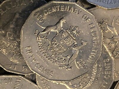 2 X 2001 Circulated 50c Coin Centenary of Federation Low Mintage Coins Tasmania!