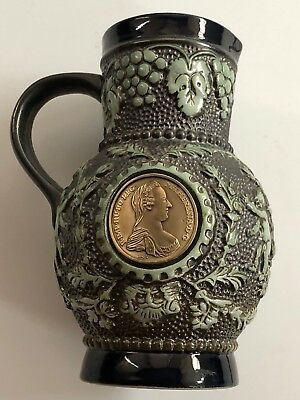 UNIQUE German Beer Stein With Inlaid Coin ~ Vintage Made In Germany 1980