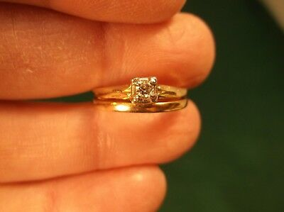 Very Old Antique Victorian 14K Yellow & Rose Gold Diamond Solitaire Wedding Ring
