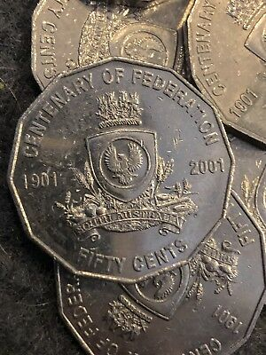 2 X 2001 Circulated 50c Coin Centenary of Federation Low Mintage Coins SA!
