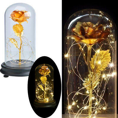 24K Gold Enchanted Rose Glass Beauty And The Beast LED Light Wedding Home Decor