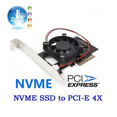 Pci-E 3.0 X4 Lane Host Adapter Converter Card M.2 M Key Ssd To Nvme+Fan new