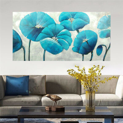 Hand Painted Art Canvas Oil Painting Modern Home Decor - Blue Flowers Framed