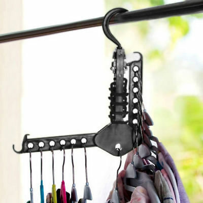 Useful Clothes Hanger Space Save Folding Hook Rack Wardrobe Multi Organizer New