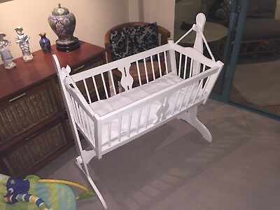 Baby rocking-cradle: solid wooden - white. 1 metre long, 1 metre high, 0.5m wide
