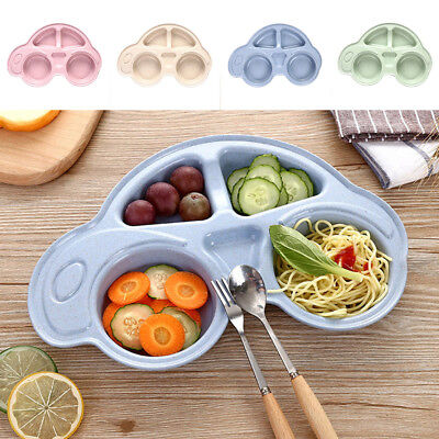 Cute Bowl Wheat Straw Mat Baby Kids Suction Table Food Tray Placemat Plate UK