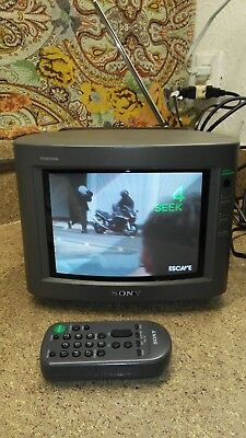 "Sony Trinitron KV-8AD11 8"" Color Retro Gaming CRT Television with Remote"