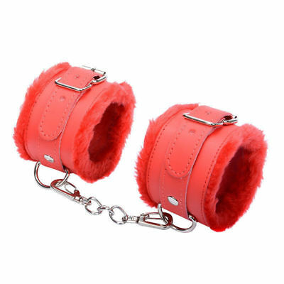 Plush Leather Buckled Handcuffs Restraint Wrist Cuffs Fetish Slave Adult Toy #rt