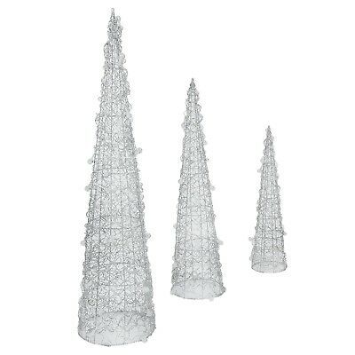 Homegear Christmas Silver Cone Tree 3 Pack-Pre-Lit 75 Lights-Indoors/Outdoors