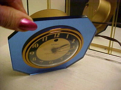 Art Deco 1930's Telechron Iris Blue Mirror Electric Clock 3F65 - Works Great.