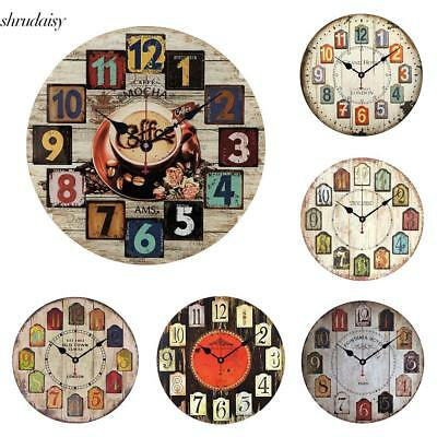Vintage Style Round Quartz Wall Clock Hanging Watch Home Decor S5DY