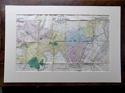 1883 Greenhough Cambridge MA Massachusetts Harvard Univ. Boston USA Antique Map