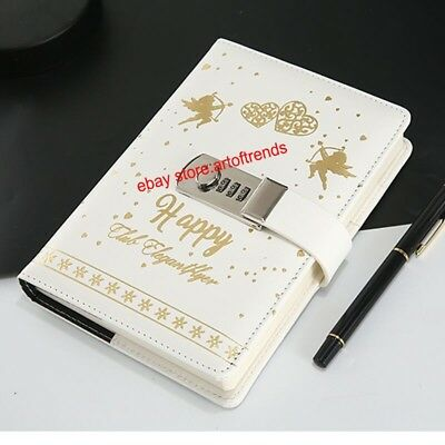 Angel Cupid Love Journal with Password Lock White Synthetic Leather Secret Diary