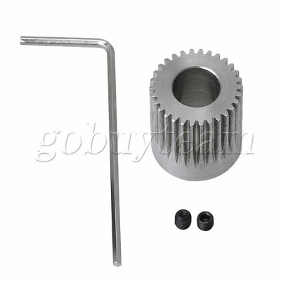 0.63 x 0.71 Inch Silver Motor Gear With Wrench and Screws for CNC