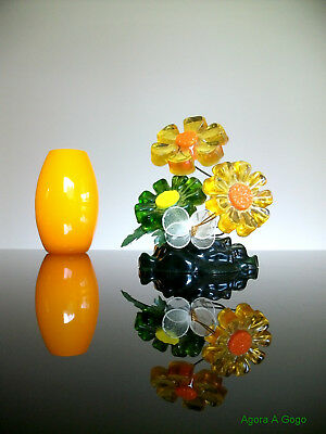 Vintage 60s Retro LUCITE ACRYLIC Mod Hippie Flower Power SCULPTURE SUNCATCHER