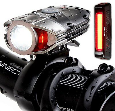Set 1000 Lumens USB Rechargeable Front Bike Light Headlight Back Rear Red Lamp