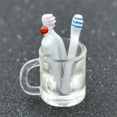 1/12 Dollhouse Miniature Toothbrush Toothpaste Cup Glass Set Bathroom Accessory