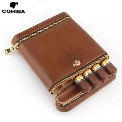 COHIBA Brown Cowhide Leather Cedar Cigar Case Humidor 6 Tubes With Humidifier