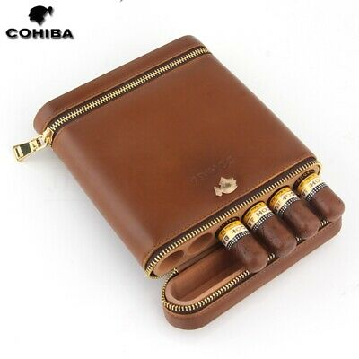 COHIBA Brown Leather Cedar Lined 6 Tube Cigar Case Humidor With Humidifier