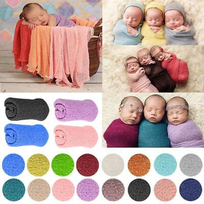 Newborn Baby Photography Photo Prop Stretch Long Ripple Wraps Solid Color AUBC#