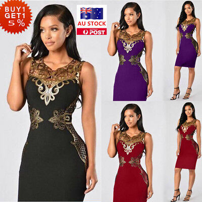 Women Sexy Lace Sleeveless Bodycon Dress Cocktail Evening Prom Clubwear Dress