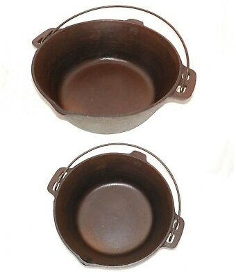Vintage Cast Iron Dutch Oven #7 10-1/4 Bail Handle Flat Bottom CLEAN OLD COOKER!