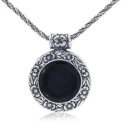 Antique Style Floral Design Black Onyx Pendant 925 Sterling Silver Necklace