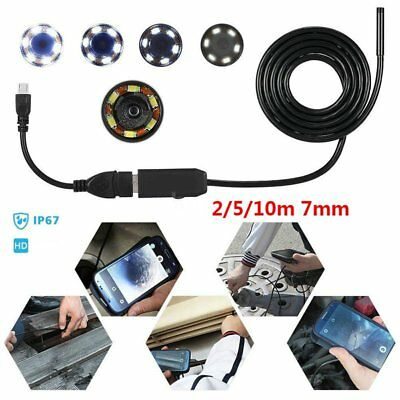 USB Lens Endoscope 7mm 6LED IP67 Borescope Inspection Camera for iPhone Android