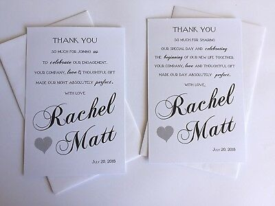 Personalised THANK YOU Cards & Envelopes Wedding or Engagement Black White FF2
