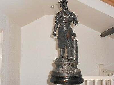 """ANTIQUE LATE 19,th,C, FRENCH BLACKSMITH"""" SPELTER FIGURE, SIGNED WAAGEN, 26,IN H,"""