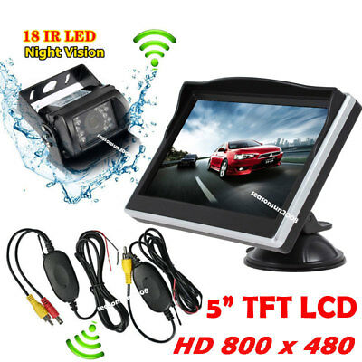 """Wireless 5"""" TFT LCD Monitor +IR Reverse Backup Rear View Camera for RV Truck"""
