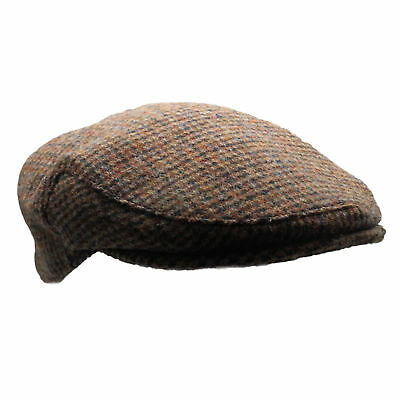 New Country 100% Scottish Harris Tweed Flat Cap - Brown Dogtooth